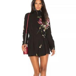 Free People Black Floral Gemma Mini Dress Tunic